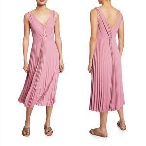 NWT Vince Pleated Twist Front  Midi Dress